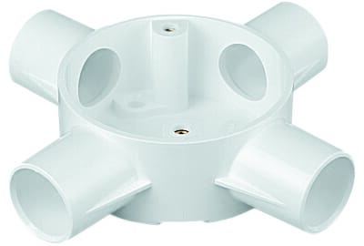 Marshall Tufflex 2MRB6WHI 20mm Plastic PVC 4 Way Box White