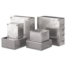 Metal Adaptable Box 100x100x50mm Knockouts Galvanised