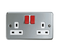 Image for MK Metalclad Plus K2946D6ALM 13A 2 Gang Double Pole Switched Socket Red Rockers