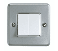 Image for MK Metalclad Plus K3782ALM 10A 2 Gang Single Pole 2 Way Wide Switch