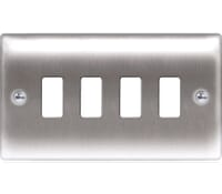 Image for BG Electrical Nexus Grid GNBS4 4 Gang Grid Front Plate Brushed Steel