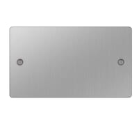Image for BG Electrical Nexus Flatplate SBS95-02 2 Gang Blank Plate Brushed Steel