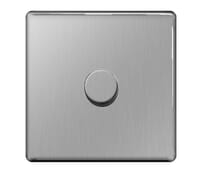 Image for BG Electrical Nexus Flatplate Screwless FBS81P Dimmer Switch 1 Gang 2 Way 400W Brushed Steel
