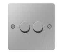 Image for BG Electrical Nexus Flatplate SBS82P-02 2 Gang 2 Way Push 400W Brushed Steel