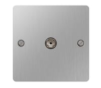 Image for BG Electrical Nexus Flatplate SBS60-02 CoAxial Socket 1 Gang Brushed Steel