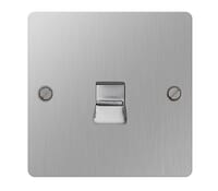 Image for BG Electrical Nexus Flatplate SBSBTS1-02 Telephone Slave 1 Gang Outlet Brushed Steel