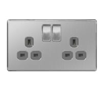 Image for BG Electrical Nexus Flatplate Screwless FBS22G 2 Gang 13A Switched Socket Brushed Steel