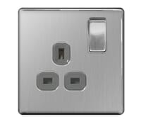 Image for BG Electrical Nexus Flatplate Screwless FBS21G 1 Gang 13A Switched Socket Brushed Steel