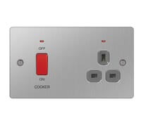 Image for BG Electrical Nexus Flatplate SBS70G-02 45A Double Pole Cooker Switch With 13A Neon Socket Brushed Steel