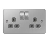 Image for BG Electrical Nexus Flatplate SBS22G-02 13A Switched Socket 2 Gang Double Pole Outlet Brushed Steel