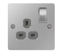 Image for BG Electrical Nexus Flatplate SBS21G-02 13A Switched Socket 1 Gang Double Pole Outlet Brushed Steel