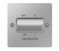 Image for BG Electrical Nexus Flatplate SBS15-02 10Ax Plate Switch 3 Pole Fan Isolator Brushed Steel