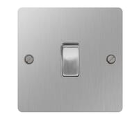 Image for BG Electrical Nexus Flatplate SBS12-02 10Ax Plate Switch 1 Gang 2 Way Brushed Steel