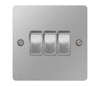 Image for BG Electrical Nexus Flatplate SBS43-02 10Ax Plate Switch 3 Gang 2 Way Brushed Steel