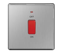 Image for BG Electrical Nexus Flatplate Screwless FBS74 45A Double Pole Switch With Neon Single Plate Brushed Steel