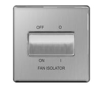 Image for BG Electrical Nexus Flatplate Screwless FBS15 10Ax Plate Switch 3 Pole Fan Isolator Brushed Steel
