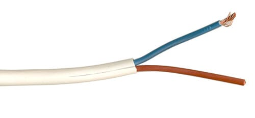 3182Y 0.75mm PVC Round Flexible Cable Two Core White 100M
