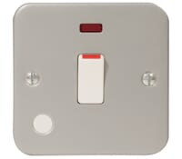 Image for BG Electrical Nexus Metal Clad MC531 20 Amp Double Pole Switch With Neon With Optional Flex Outlet