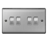 Image for BG Electrical Nexus Metal NBS44 10Ax Plate Switch 4 Gang 2 Way Brushed Steel