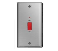 Image for BG Electrical Nexus Metal NBS72 45A Double Pole Switch With Neon Double Plate Brushed Steel
