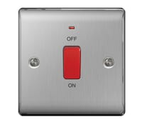 Image for BG Electrical Nexus Metal NBS74 45A Double Pole Switch With Neon Single Plate Brushed Steel
