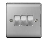 Image for BG Electrical Nexus Metal NBS43 10Ax Plate Switch 3 Gang 2 Way Brushed Steel