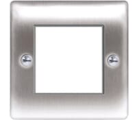 Image for BG Electrical Nexus Metal NBSEMS2 2 Module Square Front Plate Brushed Steel