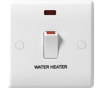 Image for BG Electrical Nexus Moulded 833WH 20 Amp Double Pole Switch Marked Water Heater With Neon And Flex Outlet White