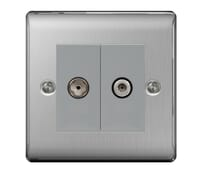 Image for BG Electrical Nexus Metal NBS65 Satellite And CoAxial Socket 2 Gang Brushed Steel