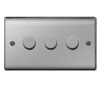 Image for BG Electrical Nexus Metal NBS83P 3 Gang 2 Way 400W Dimmer Brushed Steel