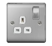 Image for BG Electrical Nexus Metal NBS21W 1 Gang 13A Switched Socket Brushed Steel