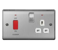 Image for BG Electrical Nexus Metal NBS70W 45A Double Pole Switch With 13A Socket And Neons Brushed Steel