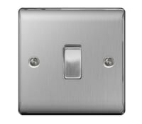 Image for BG Electrical Nexus Metal NBS12 10Ax Plate Switch 1 Gang 2 Way Brushed Steel