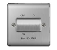 Image for BG Electrical Nexus Metal NBS15 10Ax Plate Switch 3 Pole Fan Isolator Brushed Steel