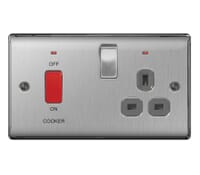 Image for BG Electrical Nexus Metal NBS70G 45A Double Pole Switch With 13A Socket And Neons Brushed Steel