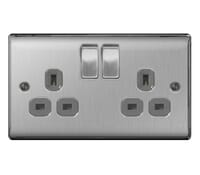 Image for BG Electrical Nexus Metal NBS22G 2 Gang 13A Switched Socket Brushed Steel
