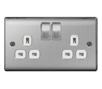 Image for BG Electrical Nexus Metal NBS22W 2 Gang 13A Switched Socket Brushed Steel