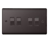Image for BG Electrical Nexus Metal NBN44 10Ax Plate Switch 4 Gang 2 Way Black Nickel