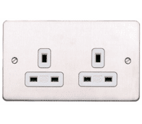 Image for MK Edge K14781BSSW 13A 2 Gang Socket Dual Earth Brushed Stainless Steel White Insert