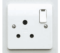 Image for MK Logic Plus K2493WHI 15A 1 Gang Round Pin Switched Socket Neon White