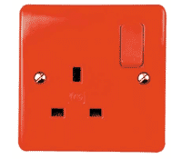 Image for MK Logic Plus K2757D1RED 13A 1 Gang Double Pole Switched Socket Red Rocker and Frontplate Red