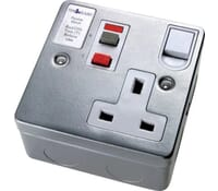 Image for Timeguard Tripfast TFA04ML Single 13Amp Socket Outlet with RCD trip Metalclad