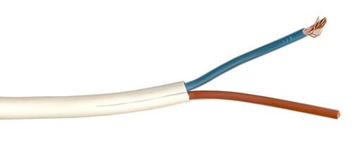 3182Y 0.75mm PVC Round Flexible Cable Two Core White 1M