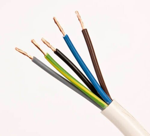 3185Y 0.75mm PVC Flexible Cable Five Core White 50M