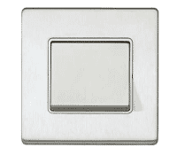 Image for MK Aspect K23473BSSW 1 Gang 20A Single Pole 2 Way Wide Rocker Switch Brushed Stainless Steel White Insert