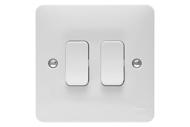 Hager Sollysta Light Switch 2 Gang 2 Way 10a White Wmps22