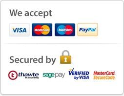 We accept Visa, Mastercard, Maestro, PayPal - Secured by Thawte, SagePay, Verified by Visa and Mastercard Securecode